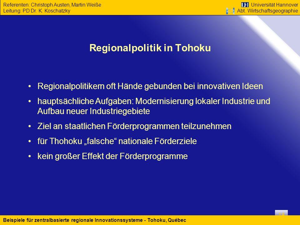 Regionalpolitik in Tohoku