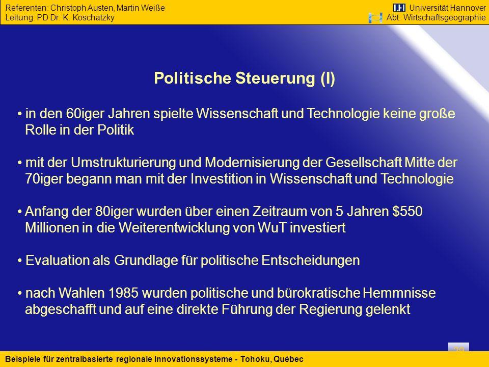 Politische Steuerung (I)