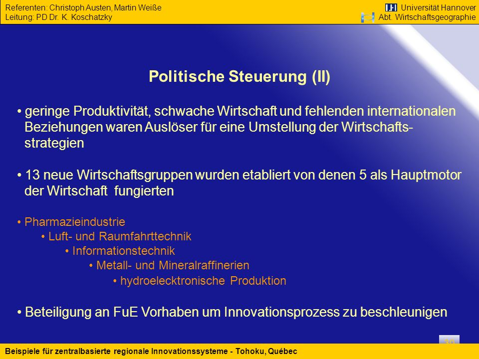 Politische Steuerung (II)