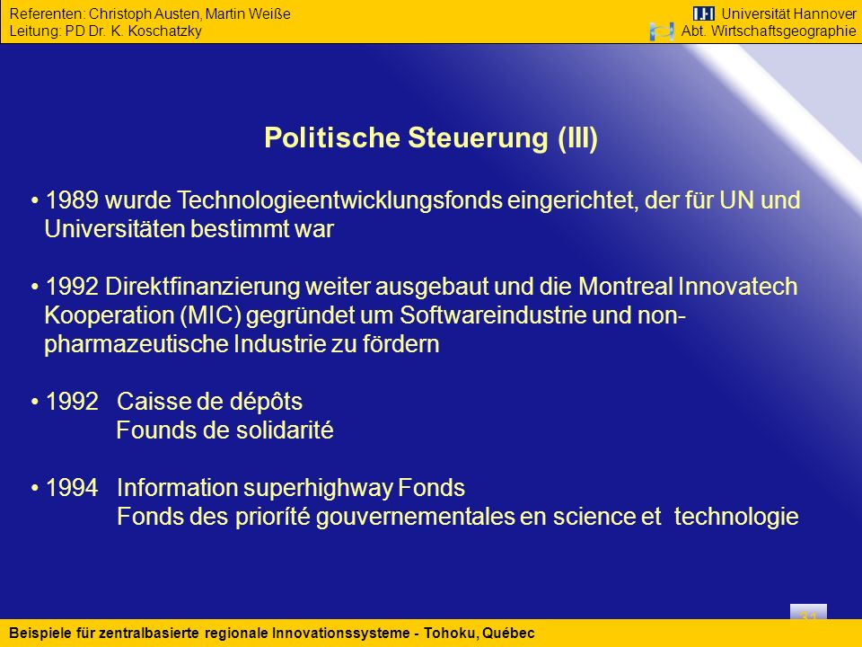 Politische Steuerung (III)