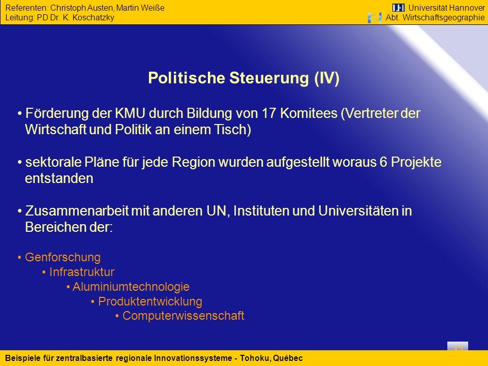 Politische Steuerung (IV)