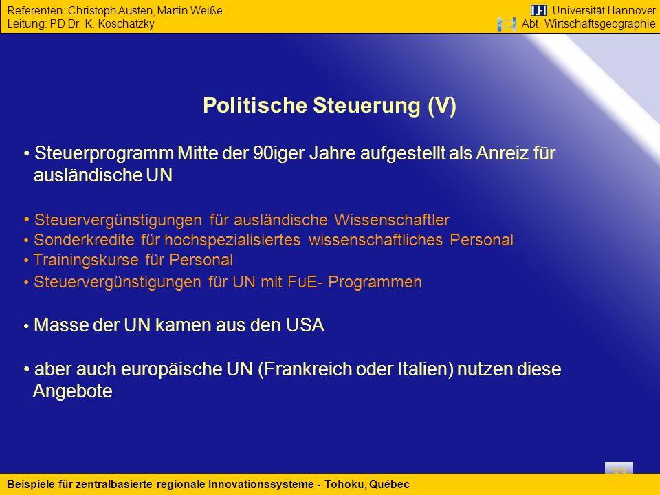 Politische Steuerung (V)
