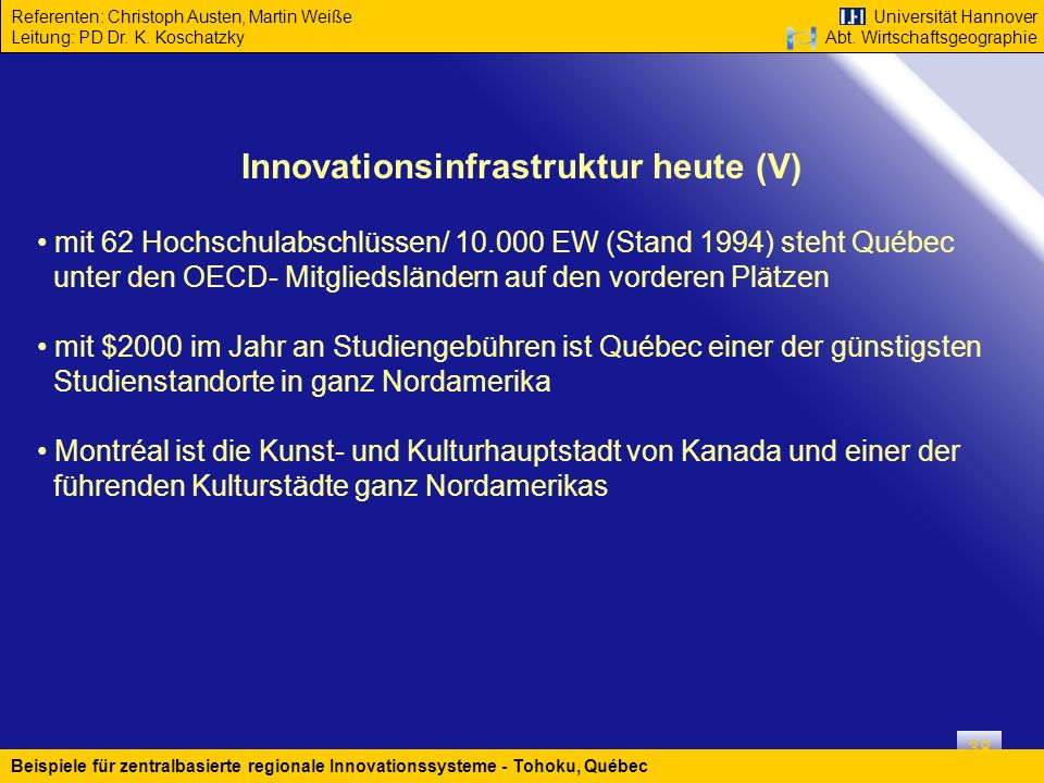 Innovationsinfrastruktur heute (V)