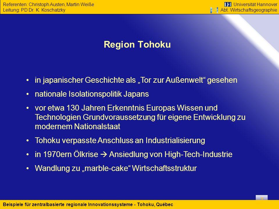 """Region Tohoku in japanischer Geschichte als """"Tor zur Außenwelt gesehen. nationale Isolationspolitik Japans."""
