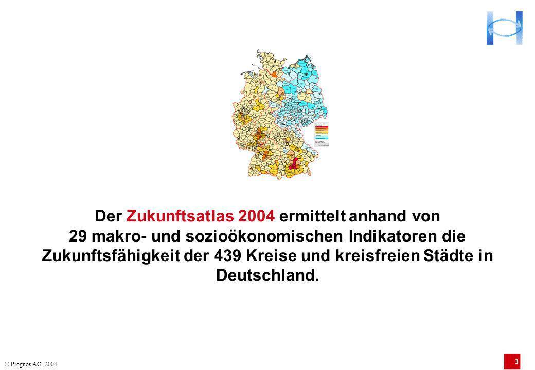 Der Zukunftsatlas 2004 ermittelt anhand von 29 makro- und sozioökonomischen Indikatoren die Zukunftsfähigkeit der 439 Kreise und kreisfreien Städte in Deutschland.