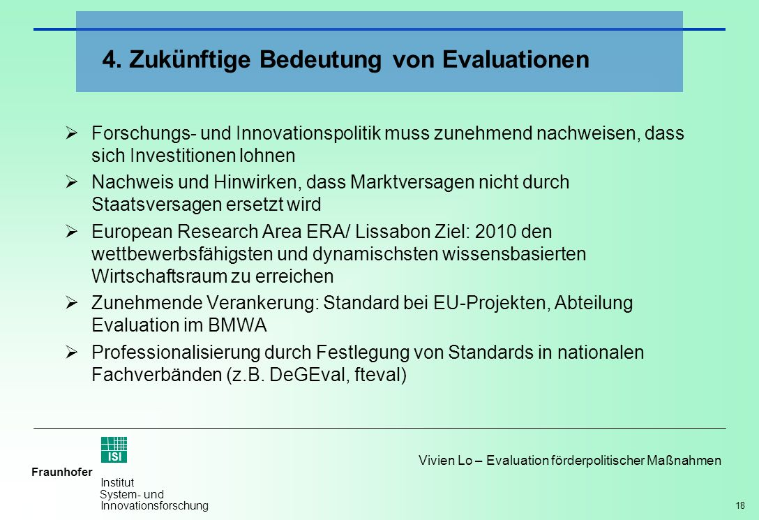 4. Zukünftige Bedeutung von Evaluationen
