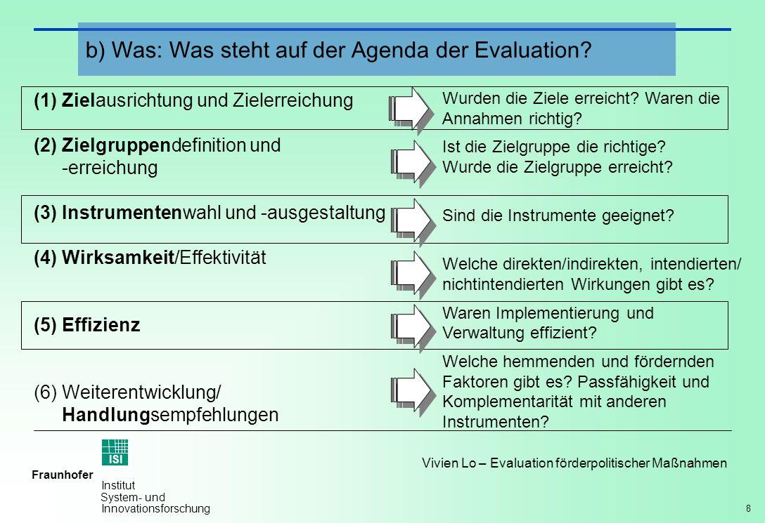 b) Was: Was steht auf der Agenda der Evaluation