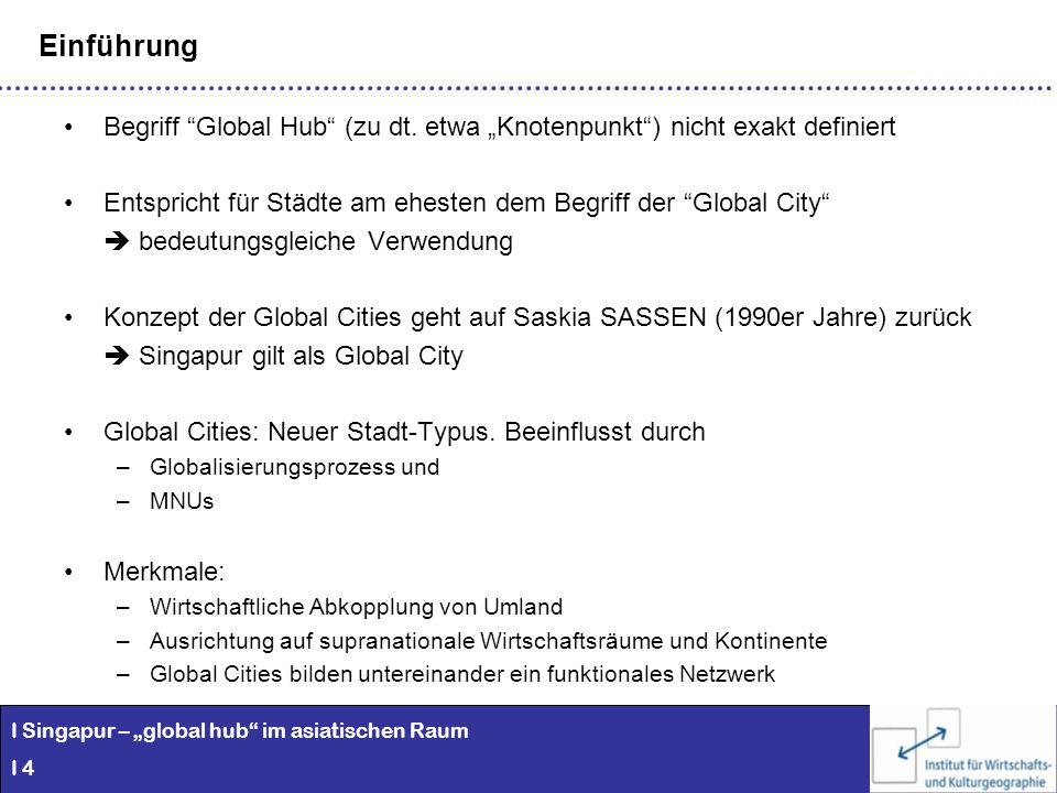 """EinführungBegriff Global Hub (zu dt. etwa """"Knotenpunkt ) nicht exakt definiert. Entspricht für Städte am ehesten dem Begriff der Global City"""