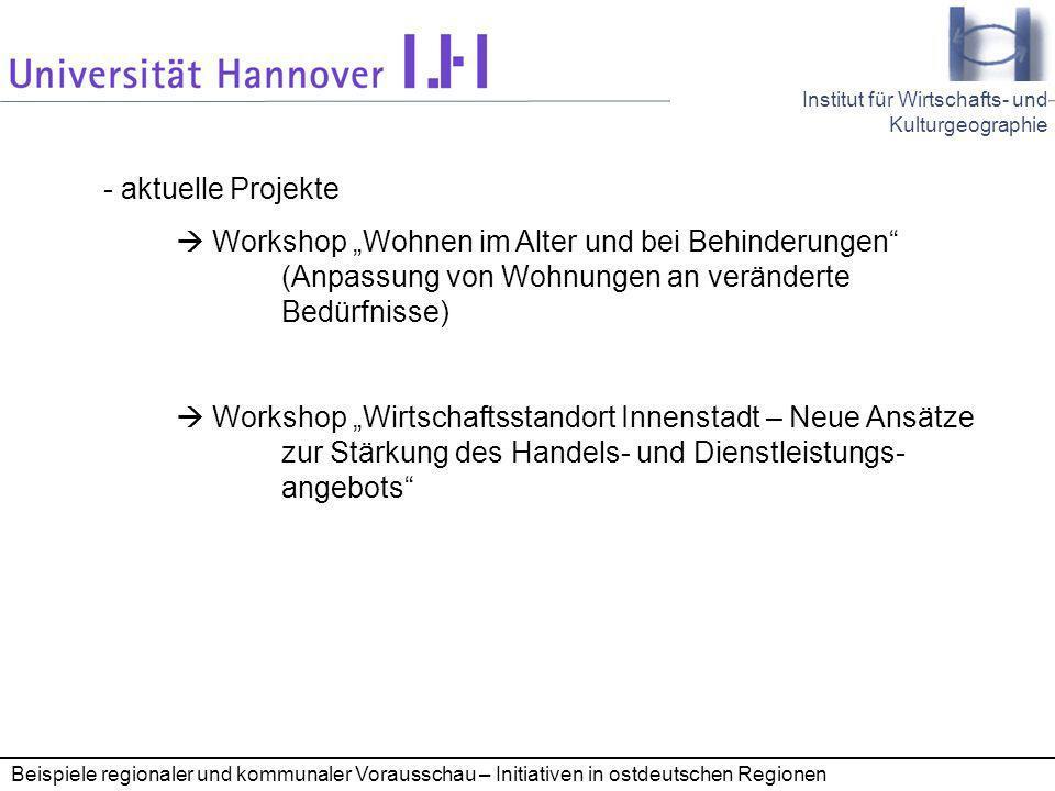 """- aktuelle Projekte  Workshop """"Wohnen im Alter und bei Behinderungen (Anpassung von Wohnungen an veränderte Bedürfnisse)"""