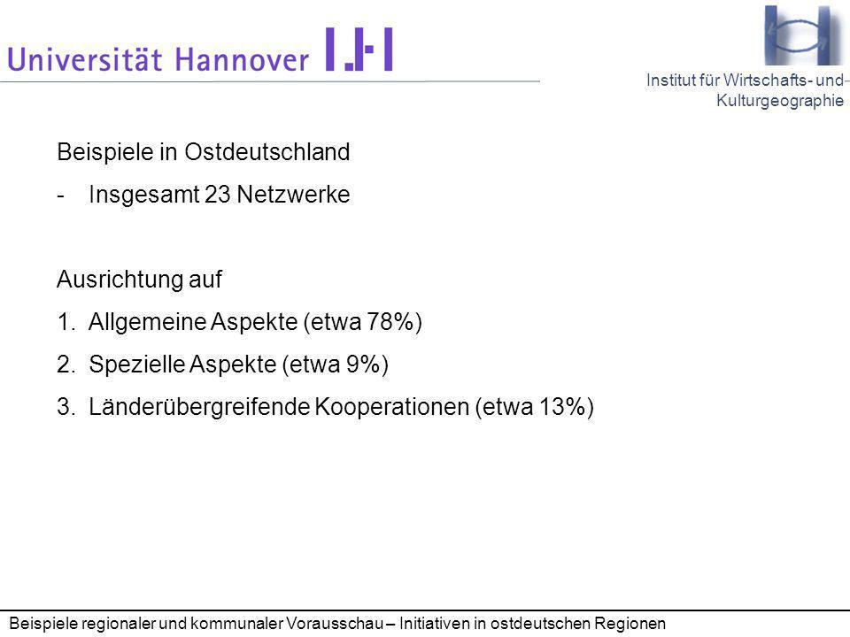 Beispiele in Ostdeutschland Insgesamt 23 Netzwerke