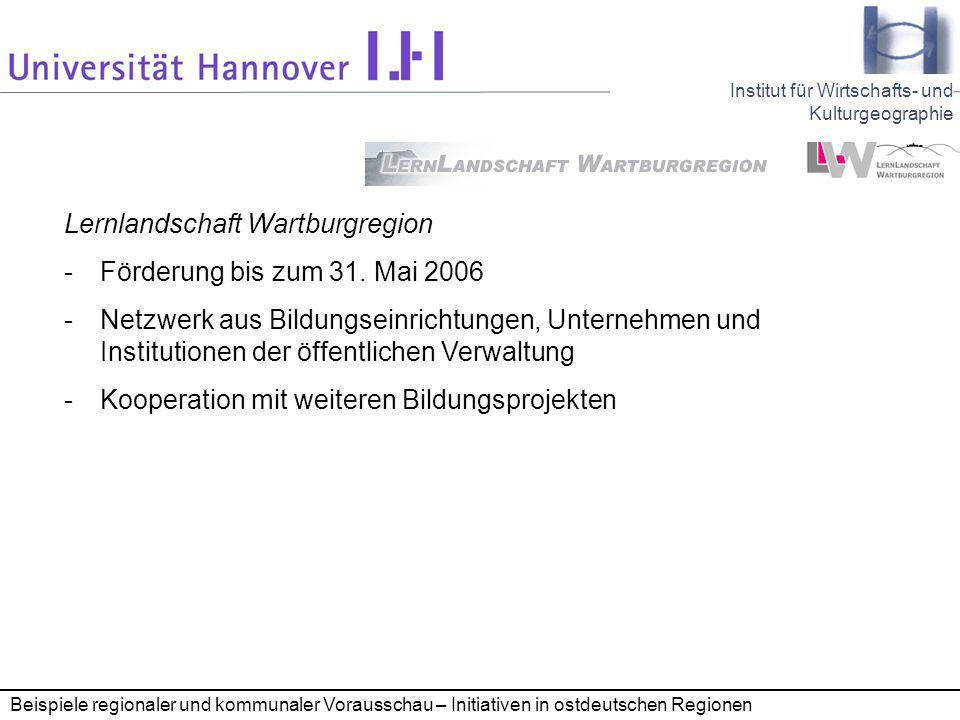 Lernlandschaft Wartburgregion Förderung bis zum 31. Mai 2006