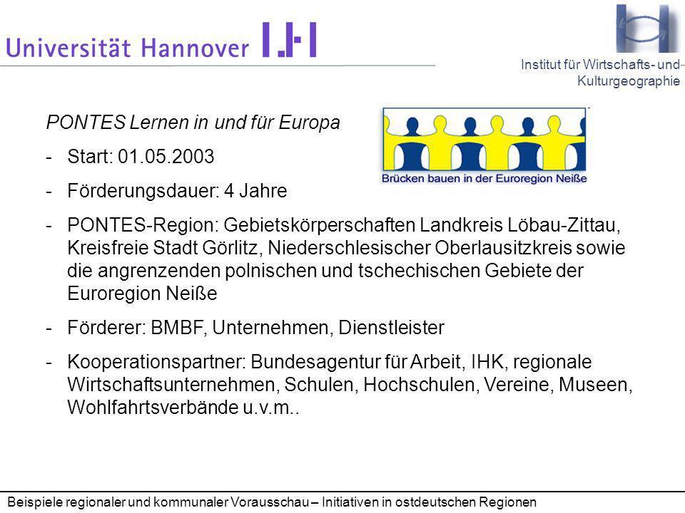 PONTES Lernen in und für Europa Start: 01.05.2003