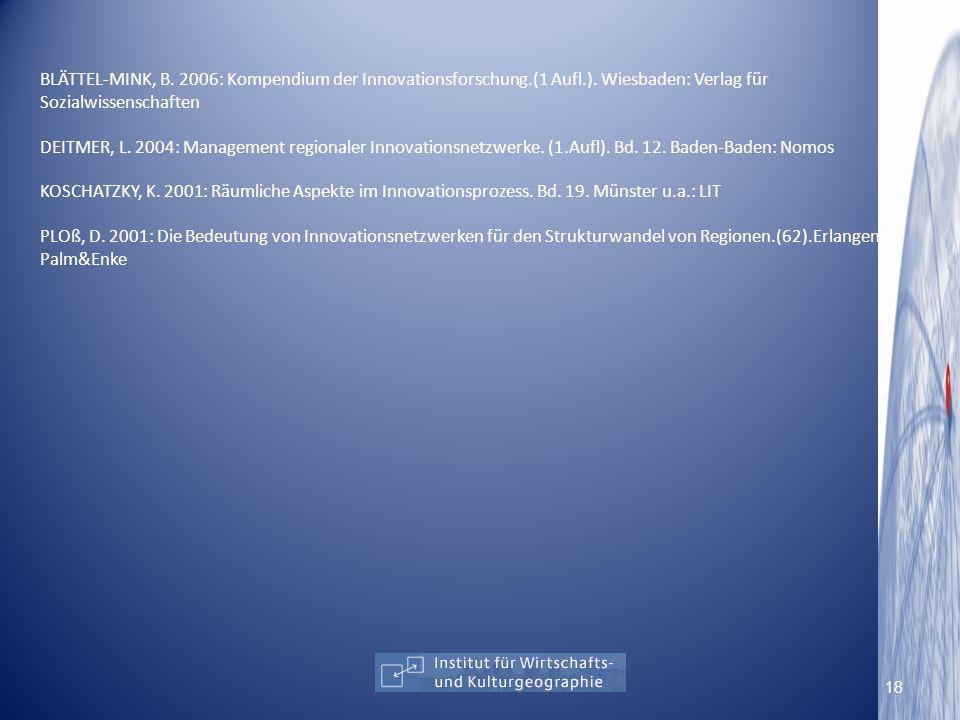 BLÄTTEL-MINK, B. 2006: Kompendium der Innovationsforschung. (1 Aufl. )