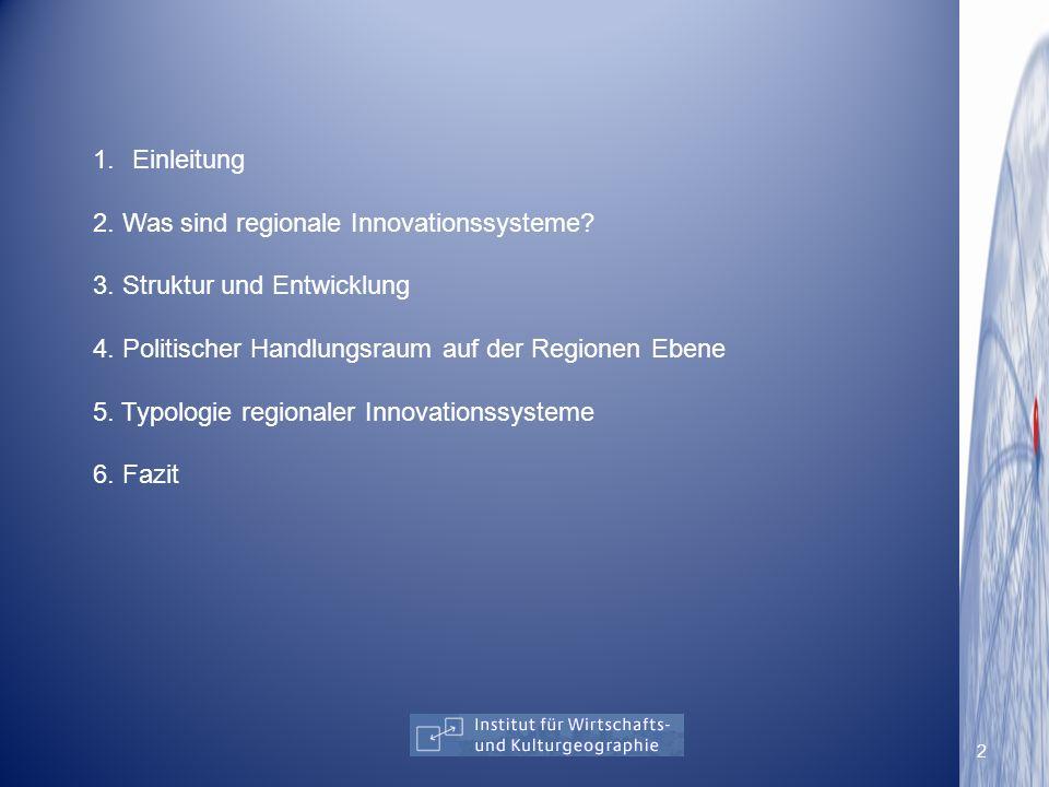 Einleitung 2. Was sind regionale Innovationssysteme 3. Struktur und Entwicklung. 4. Politischer Handlungsraum auf der Regionen Ebene.