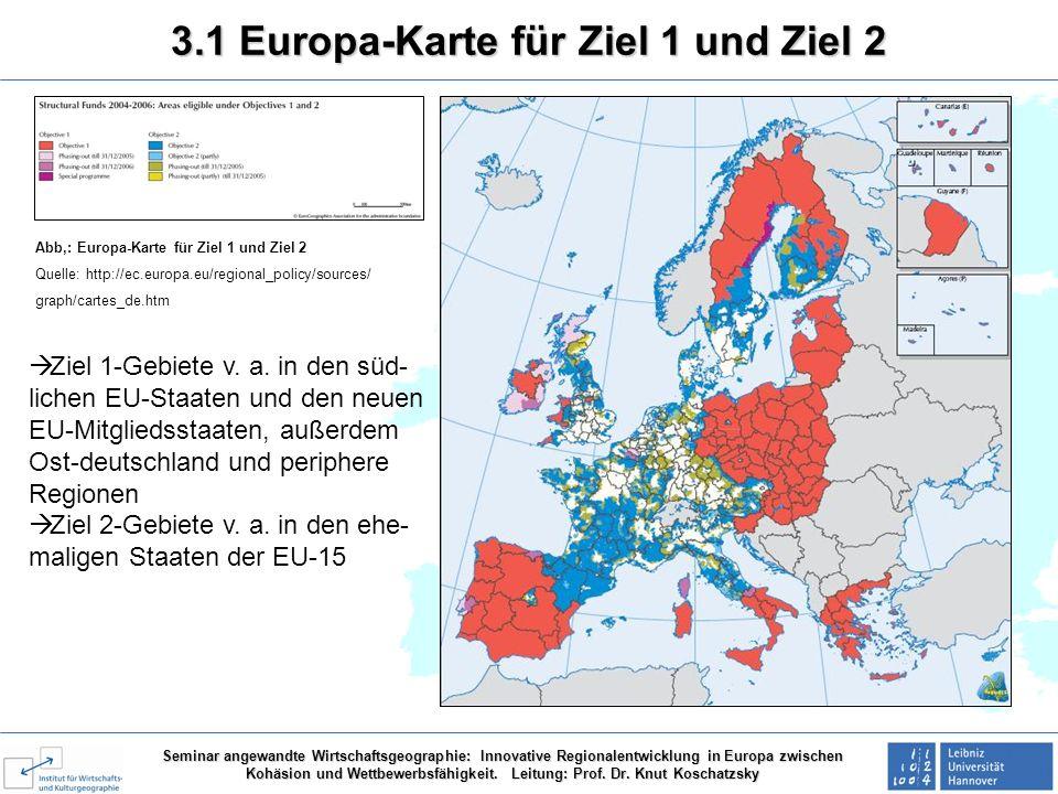 3.1 Europa-Karte für Ziel 1 und Ziel 2