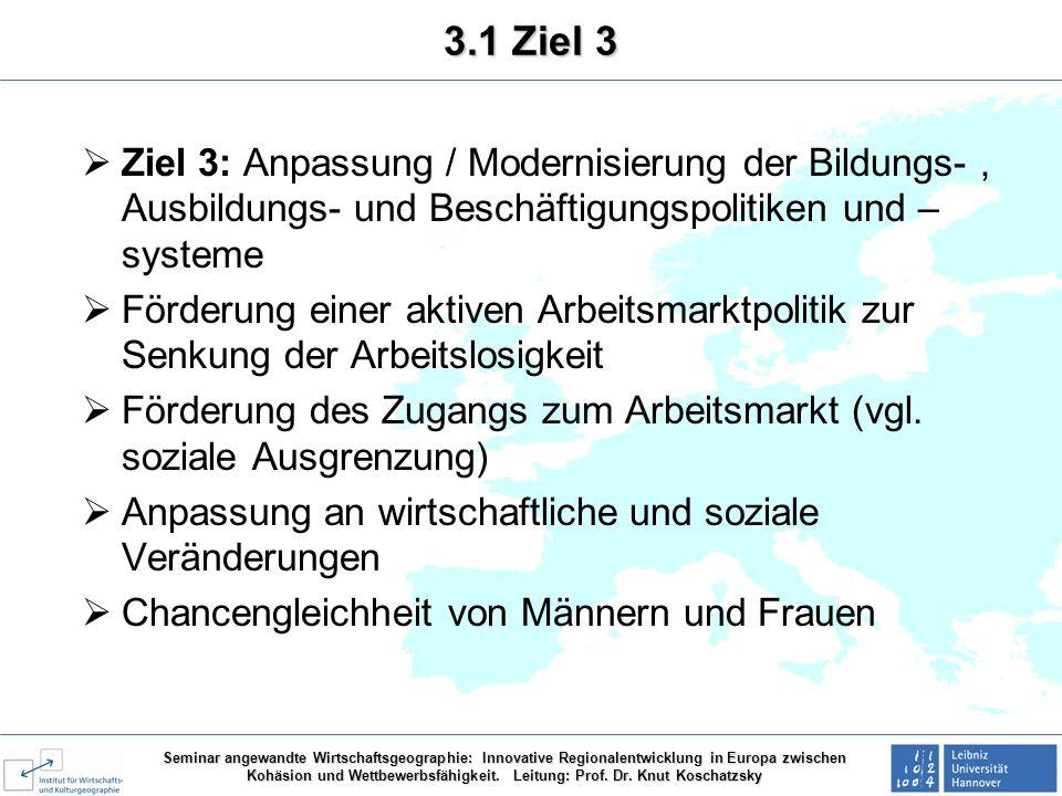 3.1 Ziel 3 Ziel 3: Anpassung / Modernisierung der Bildungs- , Ausbildungs- und Beschäftigungspolitiken und –systeme.