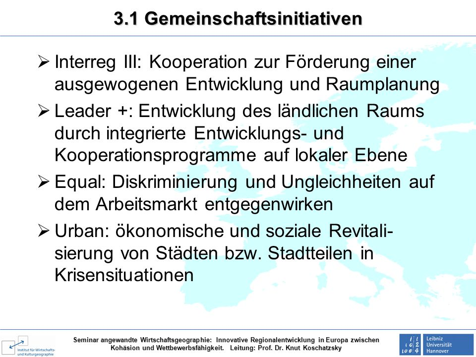 3.1 Gemeinschaftsinitiativen