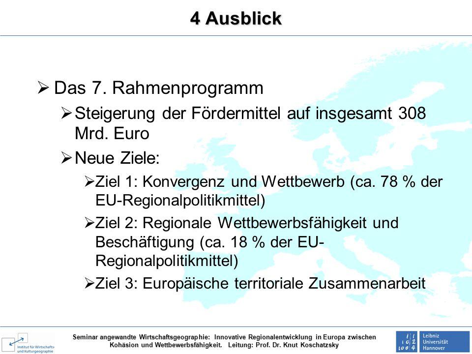 4 Ausblick Das 7. Rahmenprogramm