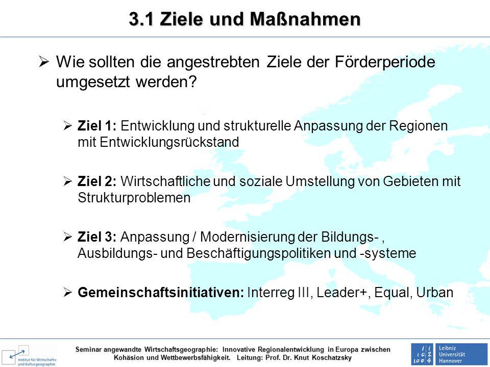 3.1 Ziele und Maßnahmen Wie sollten die angestrebten Ziele der Förderperiode umgesetzt werden