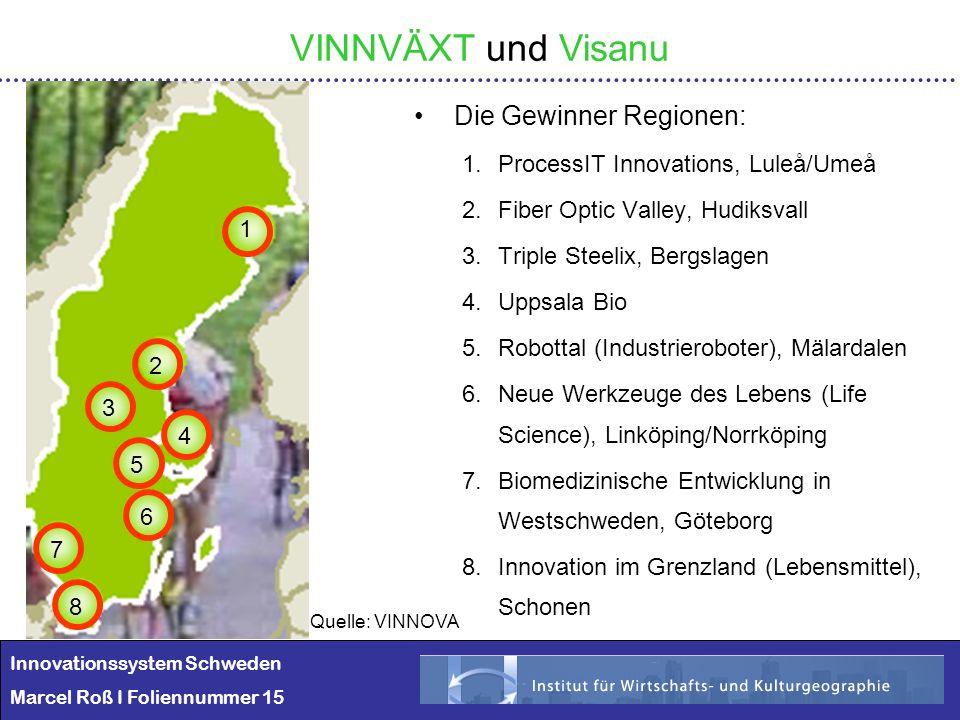 VINNVÄXT und Visanu Die Gewinner Regionen: