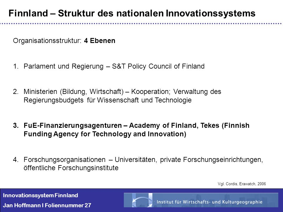 Finnland – Struktur des nationalen Innovationssystems