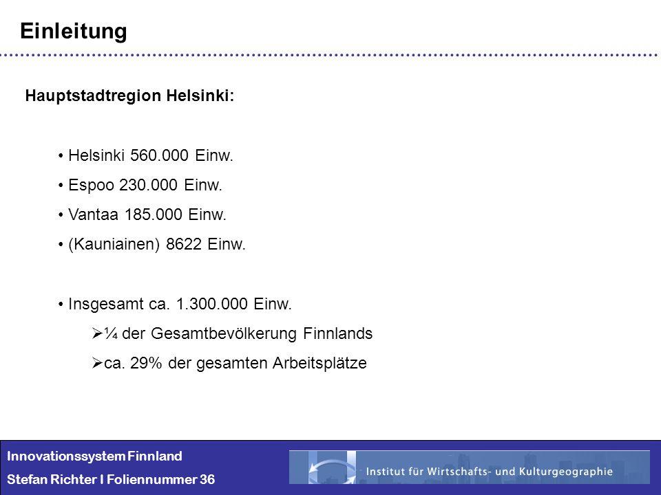 Einleitung Hauptstadtregion Helsinki: Helsinki 560.000 Einw.