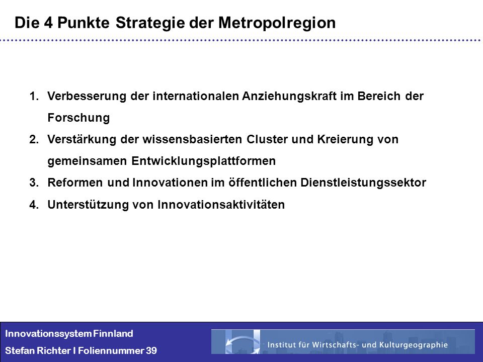 Die 4 Punkte Strategie der Metropolregion