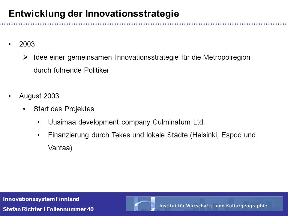 Entwicklung der Innovationsstrategie