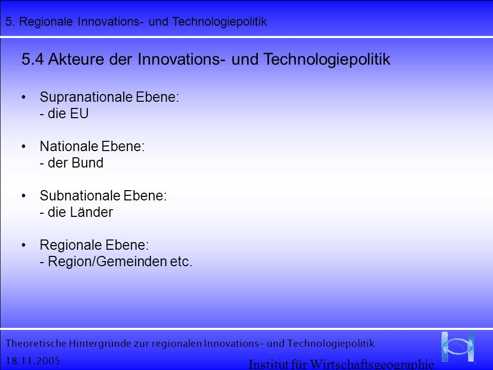 5.4 Akteure der Innovations- und Technologiepolitik