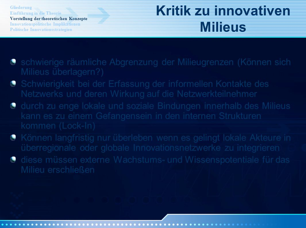 Kritik zu innovativen Milieus