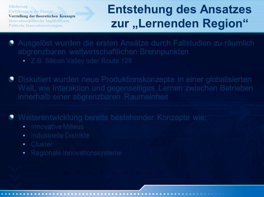 """Entstehung des Ansatzes zur """"Lernenden Region"""