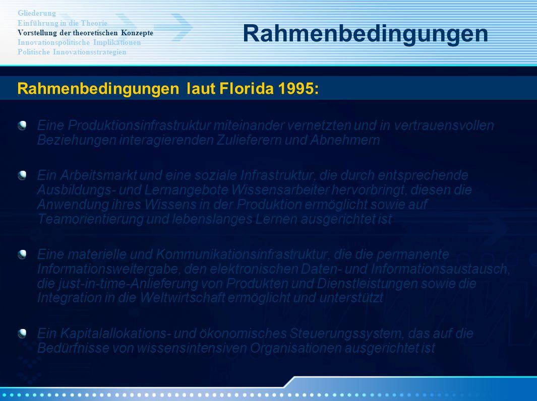 Rahmenbedingungen Rahmenbedingungen laut Florida 1995: