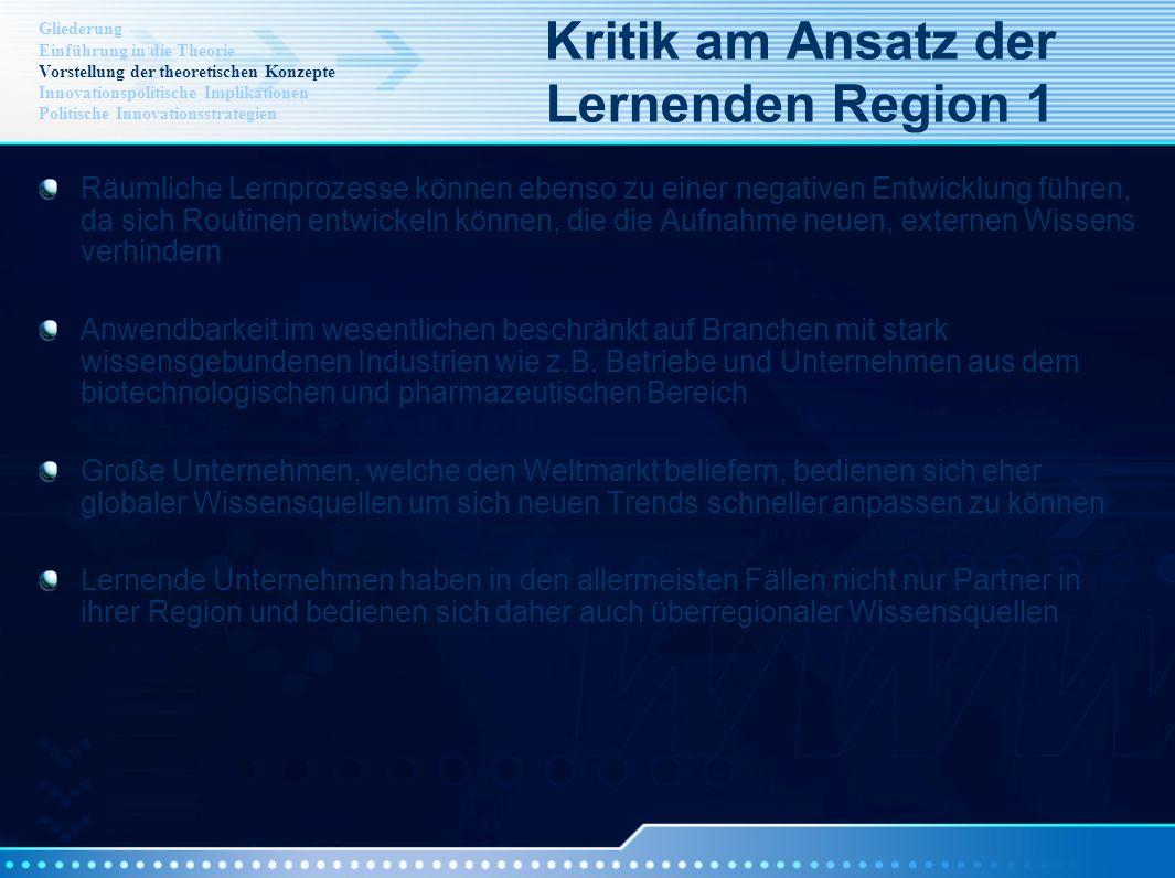 Kritik am Ansatz der Lernenden Region 1