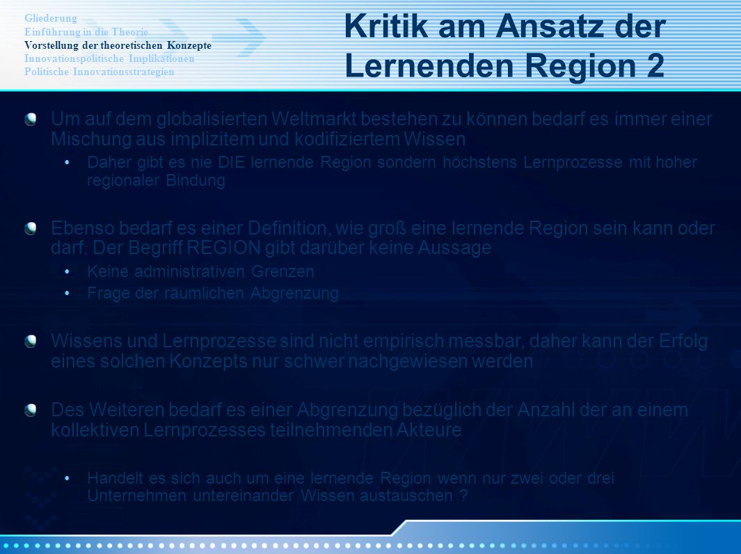Kritik am Ansatz der Lernenden Region 2