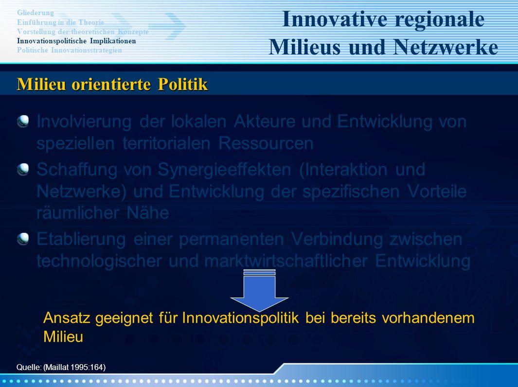 Innovative regionale Milieus und Netzwerke