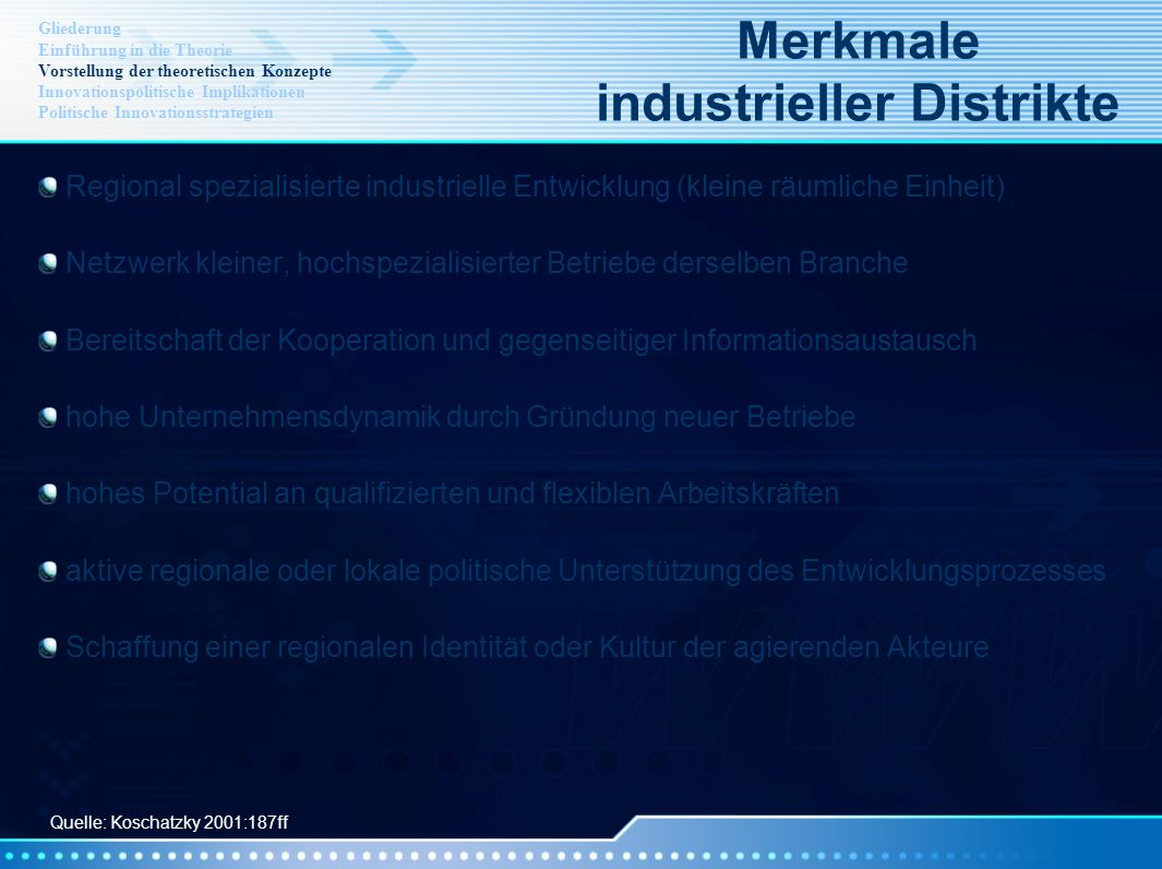 Merkmale industrieller Distrikte