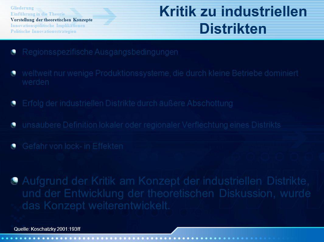 Kritik zu industriellen Distrikten