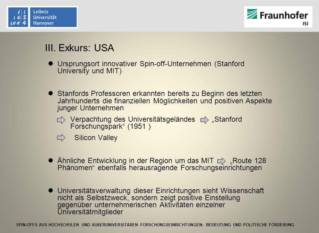 III. Exkurs: USA Ursprungsort innovativer Spin-off-Unternehmen (Stanford University und MIT)