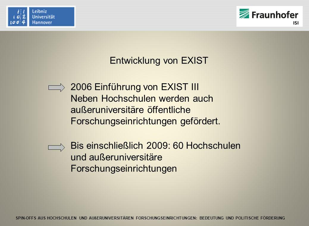 Entwicklung von EXIST 2006 Einführung von EXIST III. Neben Hochschulen werden auch außeruniversitäre öffentliche Forschungseinrichtungen gefördert.