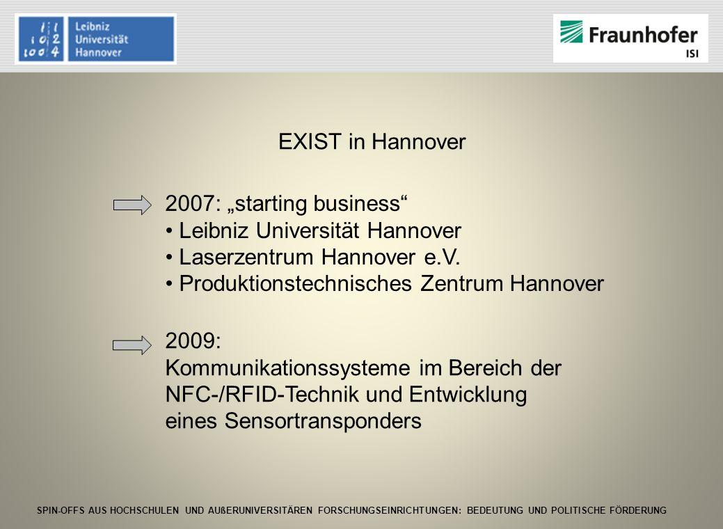 "EXIST in Hannover 2007: ""starting business Leibniz Universität Hannover. Laserzentrum Hannover e.V."
