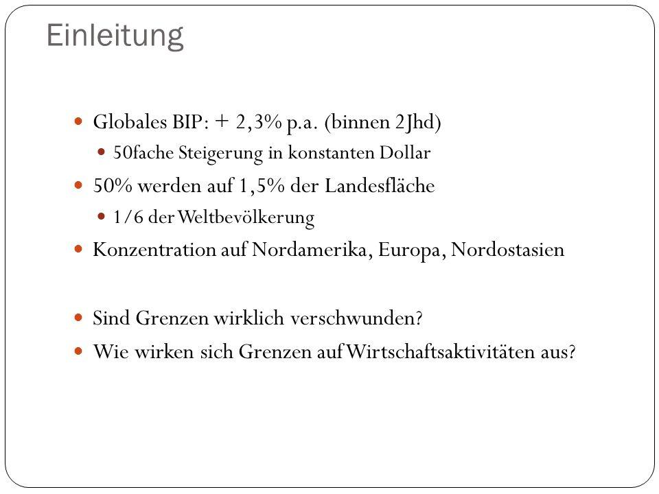 Einleitung Globales BIP: + 2,3% p.a. (binnen 2Jhd)