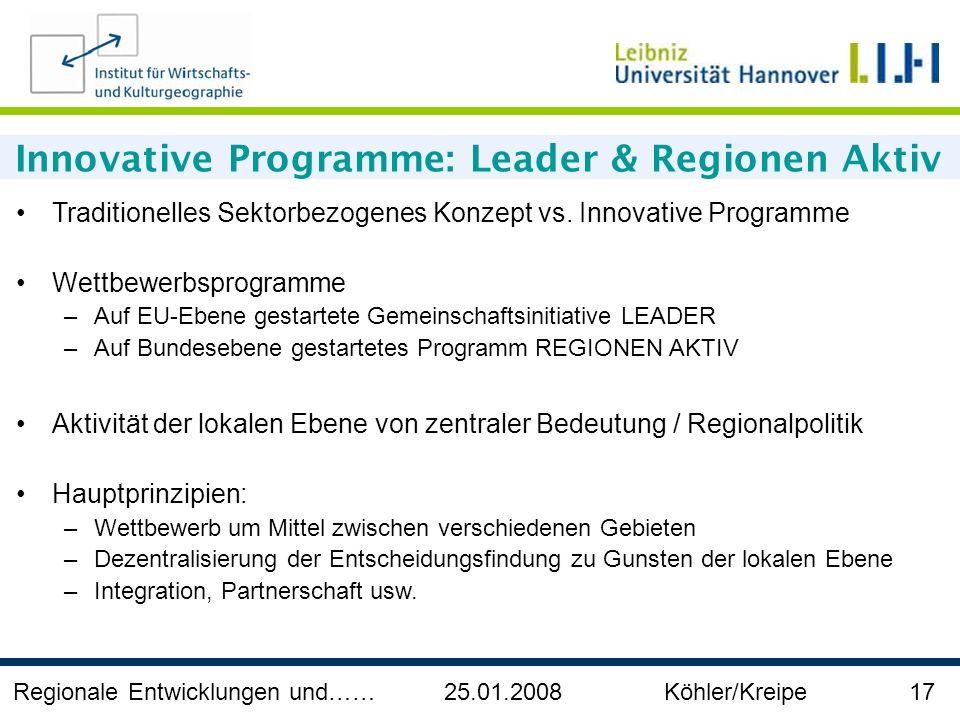 Innovative Programme: Leader & Regionen Aktiv