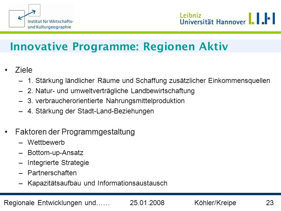 Innovative Programme: Regionen Aktiv
