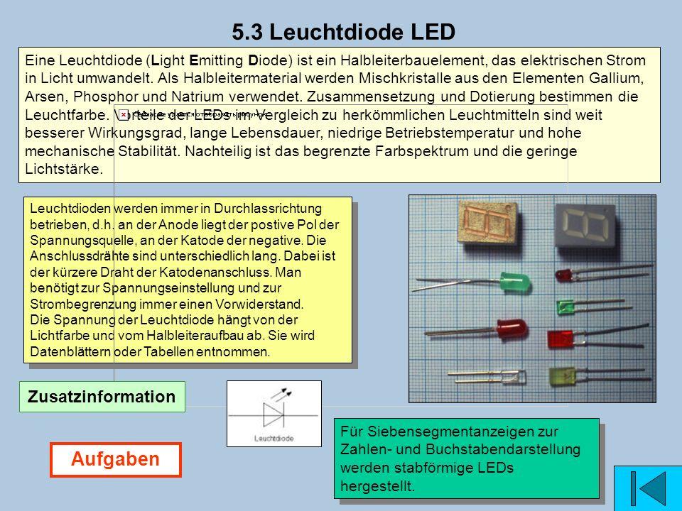 5.3 Leuchtdiode LED Aufgaben Zusatzinformation