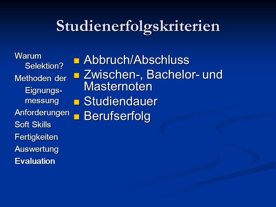 Studienerfolgskriterien