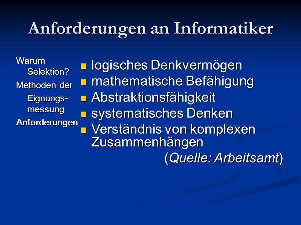 Anforderungen an Informatiker
