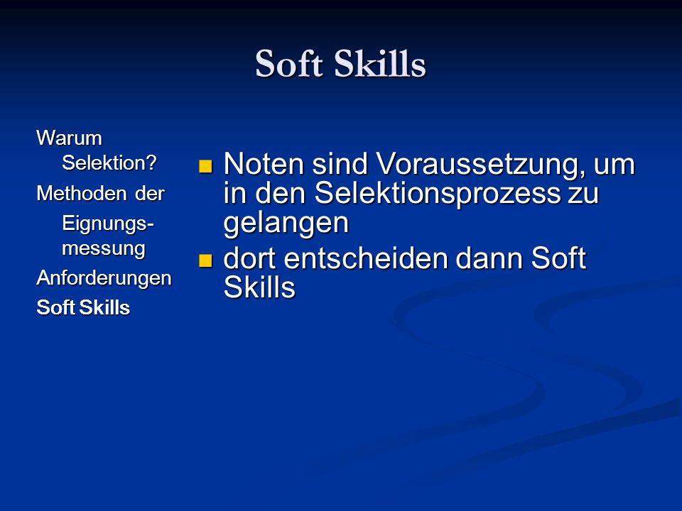 Soft Skills Warum Selektion Methoden der. Eignungs-messung. Anforderungen. Soft Skills.