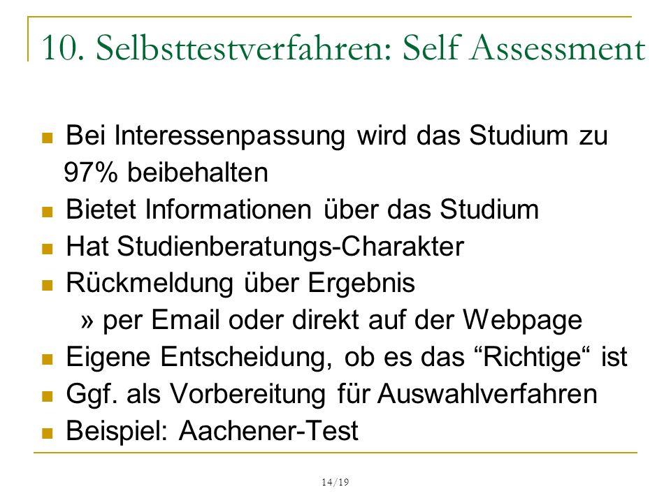 10. Selbsttestverfahren: Self Assessment