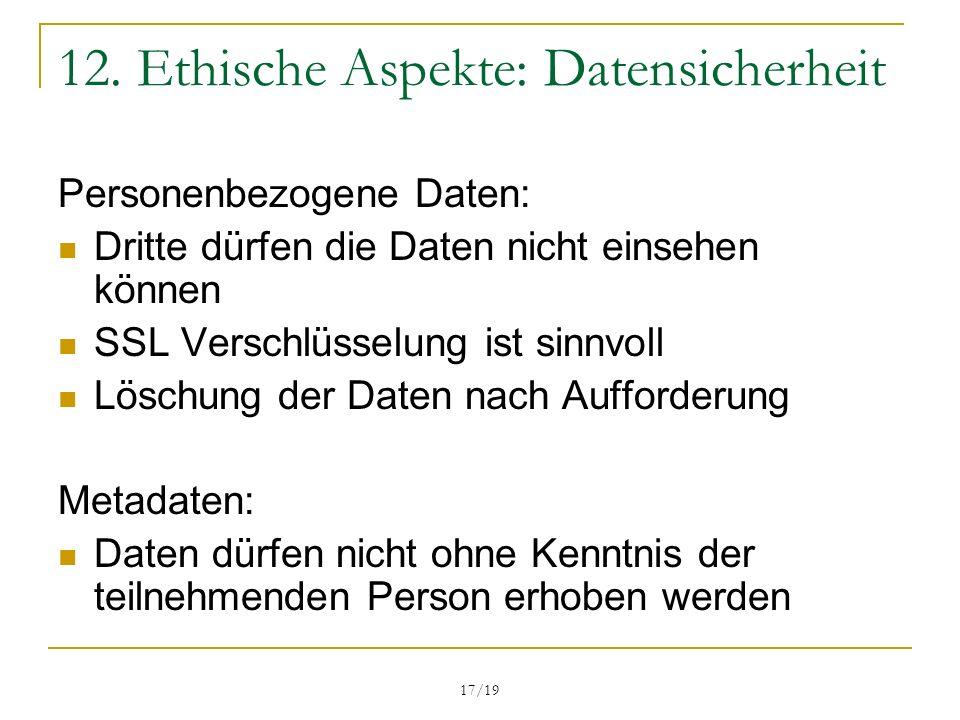 12. Ethische Aspekte: Datensicherheit