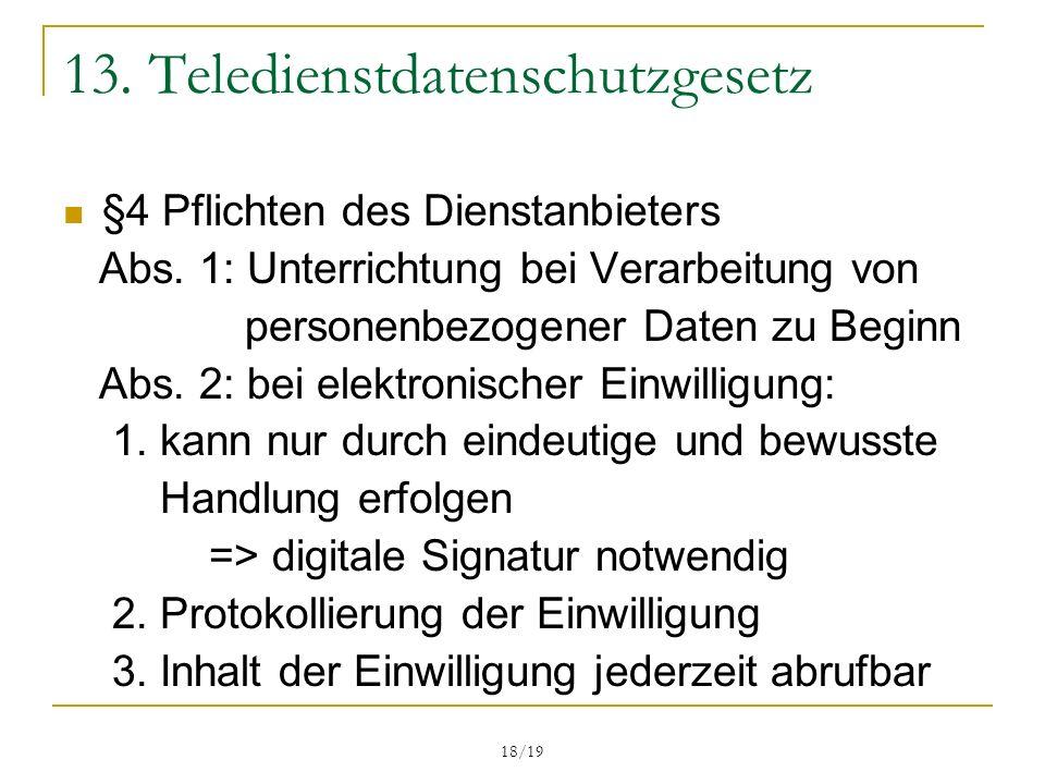 13. Teledienstdatenschutzgesetz
